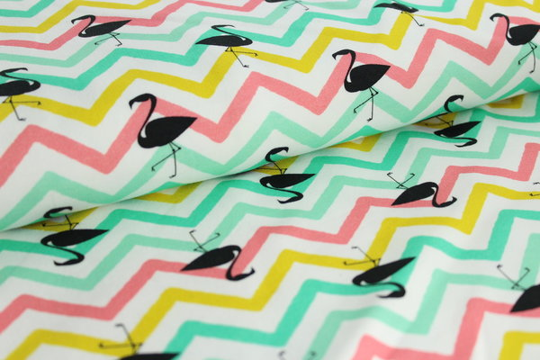 "10cm French Terry ""Flamingo Chevron"" pastell"